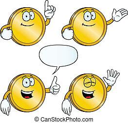 Smiling golden coin set