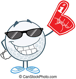 Smiling Golf Ball With Sunglasses
