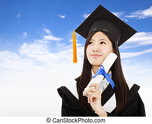 smiling Graduate woman Holding Degree with cloud background
