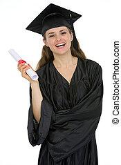 Smiling graduation female student holding diploma