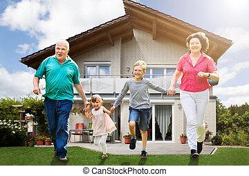 Grandparents Running With Their Grandchildren