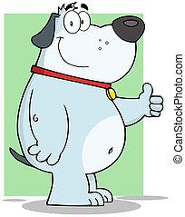 Smiling Gray Fat Dog