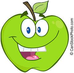 Smiling Green Apple Cartoon Mascot Character