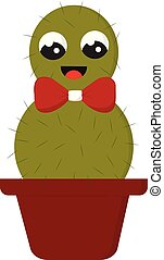 Smiling green cactus with a red bow in a red pot vector illustration on white background.
