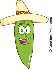 Smiling Green Chili Pepper