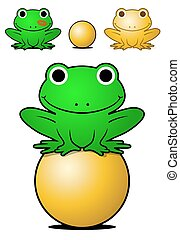 Smiling green frog balancing on a golden ball