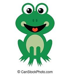 Smiling Green Frog Cartoon