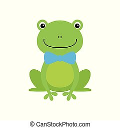 Smiling Green Frog Funny Character With Bow Tie Childish Cartoon Illustration