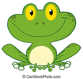 Smiling Green Frog - Happy Frog Cartoon Character