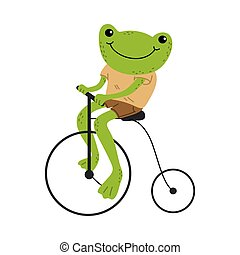 Smiling green frog riding vintage bicycle outdoors