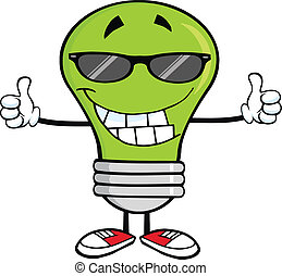 Green Light Bulb With Sunglasses - Smiling Green Light Bulb...