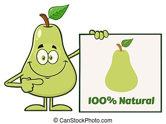 Smiling Green Pear Fruit With Leaf Cartoon Mascot Character Pointing To A Blank Sign