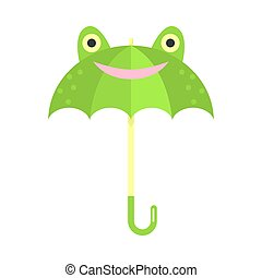 Smiling green umbrella with frog animal face vector illustration