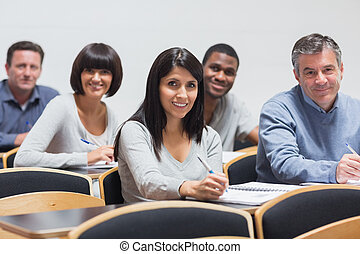 Smiling group in a lecture