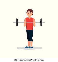 Smiling guy doing exercise with barbell. Active workout in gym. Physical activity. Flat vector illustration