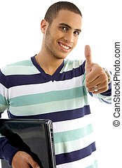 smiling guy holding notebook showing thumbs up