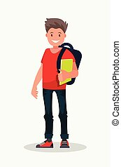 Smiling guy is a college student. A young male university undergraduate holds books in his hand.