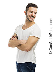 Smiling guy looking over shoulder - Beautiful latin man...