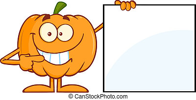 Smiling Halloween Pumpkin Mascot Character Showing A Blank ...