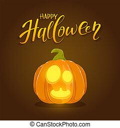 Smiling Halloween Pumpkin on Brown Background
