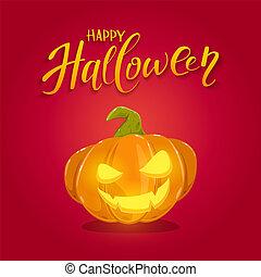 Smiling Halloween Pumpkin on Red Background