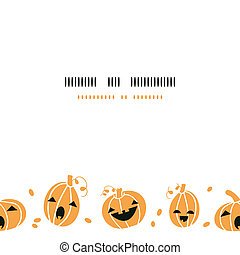 Smiling Halloween pumpkins horizontal border seamless pattern background