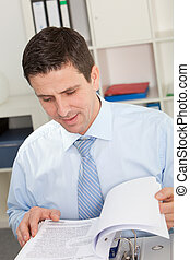 Smiling Handsome Businessman Reading Reports