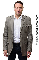smiling handsome man in jacket. Isolated