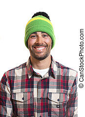 Smiling handsome young man with wool cap