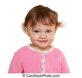 Smiling happy baby girl looking. Isolated closeup portrait on white background