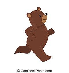 Smiling happy brown teddy bear running vector illustration