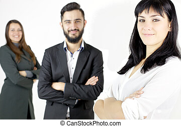 Smiling happy business people isolated - Cool young...