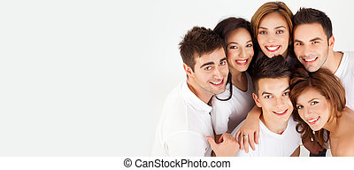 smiling having fun group of friends with copy space