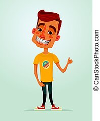 Smiling happy little boy teen character with brackets system. Vector flat cartoon illustration