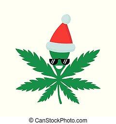 Smiling happy marijuana weed in christmas hat. Vector flat cartoon character illustration icon design. Isolated on white background. Weed, marijuana. ganja, medical and recreation cannabis