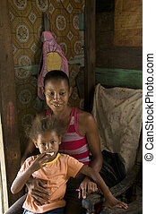 smiling happy mother child daughter inside interior ...