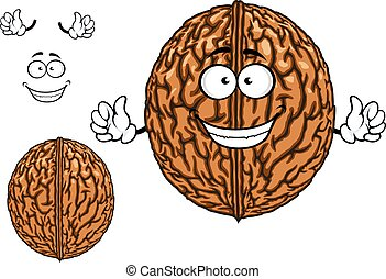 Smiling happy whole walnut character - Smiling happy whole...