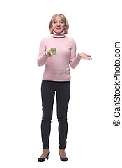 Smiling happy woman with dollars in hand
