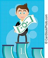 Smiling, happy, young, businessman, standing on podium, with banknote, he is winner, blue background with pattern