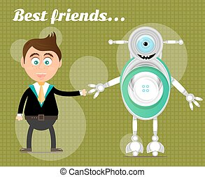 Smiling, happy, young, standing, businessman with modern robot, text Best Friends, green background with pattern