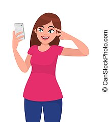 Smiling happy young woman taking selfie and gesturing peace or victory sign near the eye. Modern lifestyle and communication, human emotions concept illustration in vector cartoon flat style.