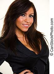 Smiling head shot - Head shot of a beautiful Hispanic hair...