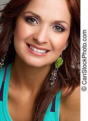 Smiling Headshot Woman - Beautiful smiling headshot woman