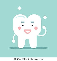 Smiling healthy strong cartoon tooth character, dental vector Illustration for kids