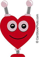 Smiling Heart Shaped Robot Head Vector Cartoon