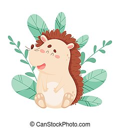 Smiling Hedgehog Character Sitting Beside the Bush Vector Illustration