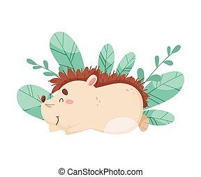 Smiling Hedgehog Character Sleeping Beside the Bush Vector Illustration