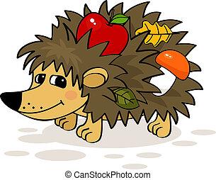 hedgehog - Smiling hedgehog with apple, mushroom and leaf...