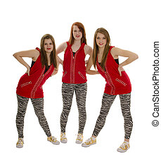 Three Smiling Girls in a Red Hip Hop Dance Group Costume
