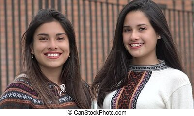 Smiling Hispanic Latina Female Teens